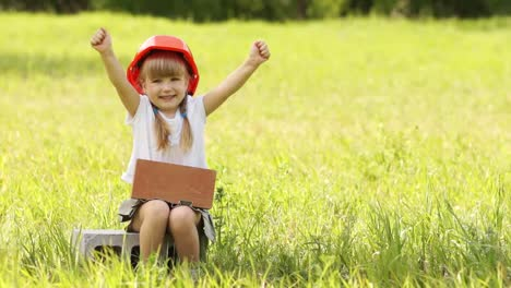 Construction-Is-Cool-The-Little-Girl-In-The-Construction-Helmet-Sits-On-Cind