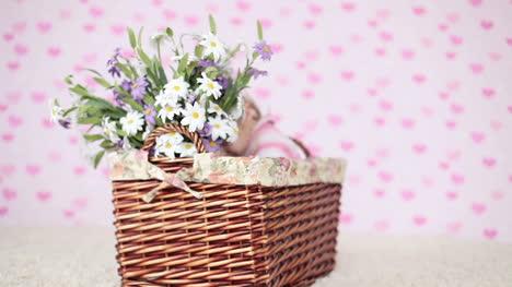 Niña-Con-Flores-Sentado-En-Una-Canasta