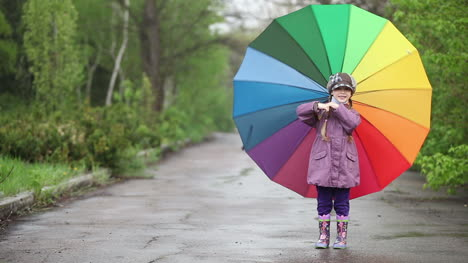Happy-Little-Girl-In-The-Park-She-Turning-Umbrella