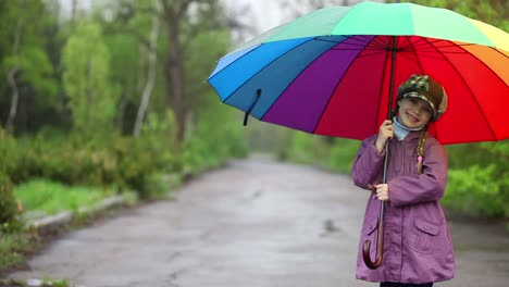Happy-Little-Girl-Laughing-Child-Holding-A-Colorful-Umbrella