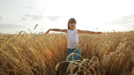 Joyful-little-girl-walking-on-wheat-field-stretching-out-her-arms-and-smiling