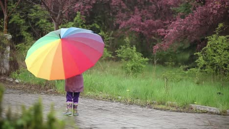 Little-Girl-With-An-Umbrella-In-The-Rain-In-The-Park-Child-Laughing