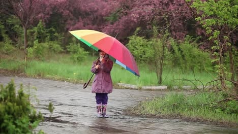 Little-Girl-With-An-Umbrella-In-The-Rain-In-The-Park-Child-Spinning