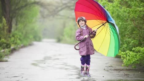 Little-Girl-With-Umbrella-In-Hands-Jumping-In-The-Rain