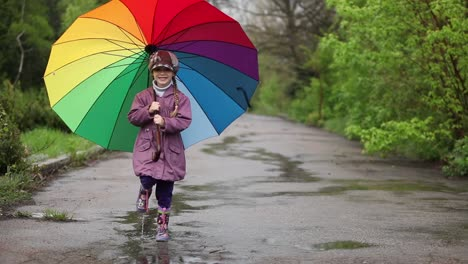 Little-Girl-With-Umbrella-In-The-Park-Turns-To-The-Camera