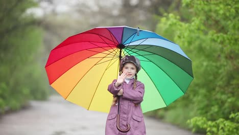 Portrait-Of-A-Child-With-An-Umbrella-In-The-Park-Child-Waving-Hand