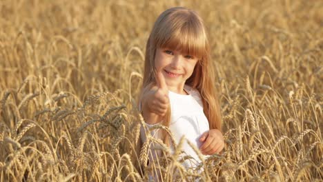 Pretty-Little-Girl-Standing-In-Golden-Wheat-Giving-Thumb-Up-And-Smiling
