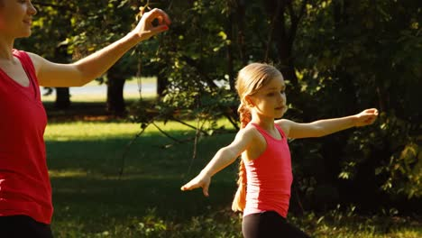 Sportlerfamilie-Mutter-und-Tochter-Die-Eine-Übung-Im-Park-Durchführen-13