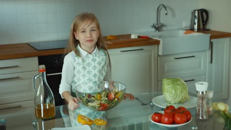 Chef-Child-Preparing-A-Salad-Child-Tasting-Salad-Delicious