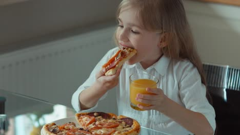 Child-Eating-Pizza-Smiling-At-Camera-And-Laughing-Top-View