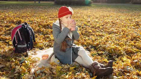 Child-Girl-Schoolgirl-Holding-Cup-Of-Tea-And-Sitting-On-The-Autumn-Leaves-In