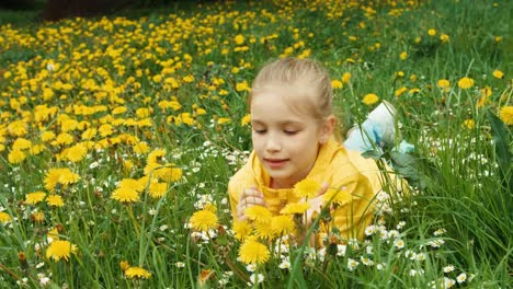 Closeup-Portrait-Child-Lying-On-The-Grass-Among-Yellow-Flowers