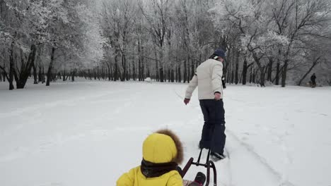 Father-Carries-Daughter-On-The-Sledge-In-Winter-Forest