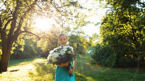 Girl-6-8-Years-Old-Spinning-With-A-Bouquet-In-The-Park