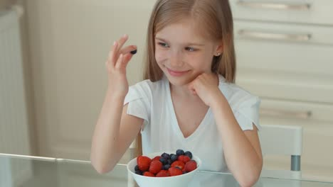Girl-Eating-Blueberries-From-A-Plate-And-Smiling-At-Camera-Thumbs-Up-Ok