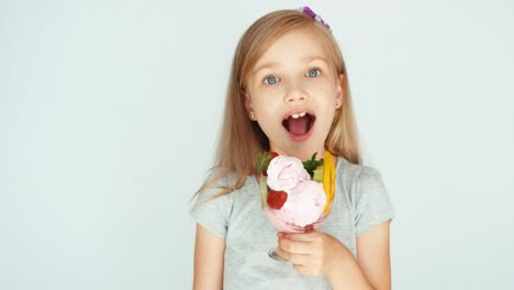 Girl-Eating-Ice-Cream-And-Smiling-At-The-Camera-Thumb-Up-Ok