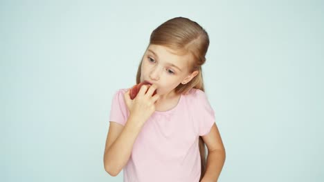 Girl-Eating-Peach-And-Kissing-It-On-The-White-Background-Thumb-Up-Ok