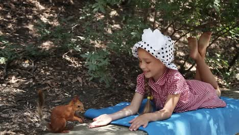 Girl-Feeding-A-Squirrel-From-Hands-Squirrel-Eats-Nuts