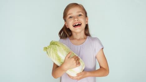 Girl-Holding-Cabbage-Thumb-Up-Ok