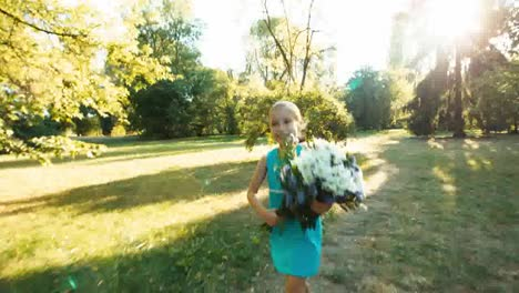 Girl-Running-With-A-Bouquet-On-A-Footpath-In-The-Woods