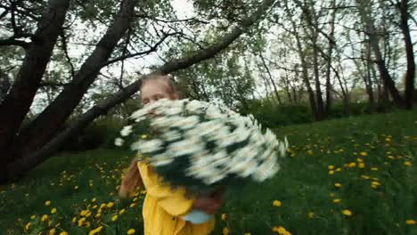 Girl-Spinning-With-A-Large-Bouquet-Of-White-Flowers