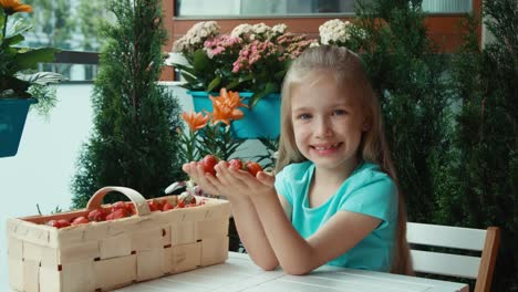 Girl-With-Handful-Of-Strawberries-Proffering-Viewers