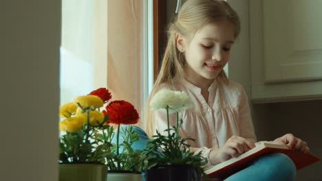 Little-Girl-Reading-A-Book-The-Child-Closes-The-Book-And-Looks-Out-The-Window