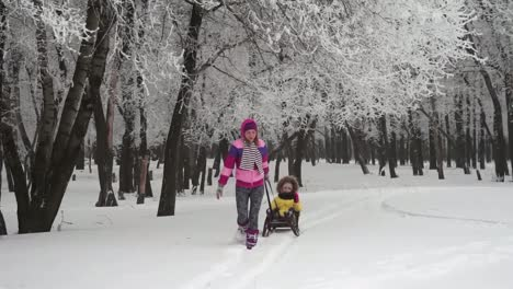 Mother-Is-Pulling-The-Sledge-His-Daughter-In-A-Winter-Forest