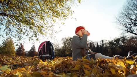 Portrait-Child-Girl-Schoolgirl-Drinking-Hot-Tea-Sitting-On-The-Autumn-Leaves