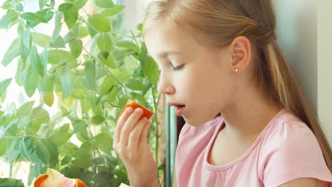 Portrait-Girl-Sniffing-Tomato-Against-Window-And-Smiling-Zooming