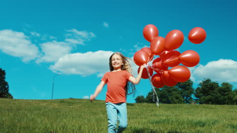 Portrait-Girl-With-Red-Balloons-Walking-At-Camera