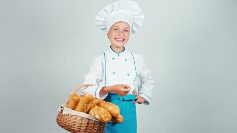 Baker-Girl-Child-Holds-Basket-With-Bread-Baguette-Isolated-On-White-And-Smiling