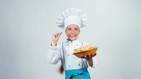 Chef-Cook-Child-7-8-Years-Holds-Plate-With-Pasta-And-Dancing-Isolated-On-White