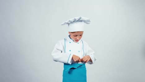 Chef-Cook-Child-7-8-Years-Preens-Standing-Isolated-On-White-Background