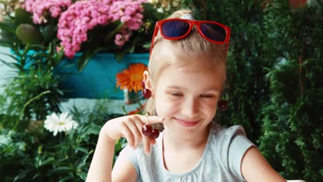 Portrait-Little-Fashionista-Hamming-At-Camera-Cherry-Girl