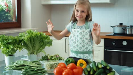 Young-Chef-With-Vegetables-Near-Kitchen-Table-Girl-Promoting-Healthy-Food