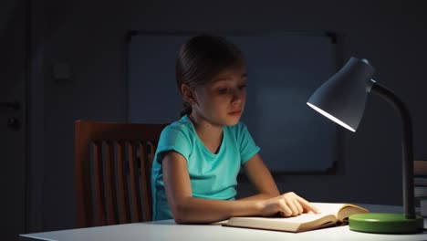 Child-Yawning-And-Reading-A-Book-In-The-Night-And-Smiling-At-Camera