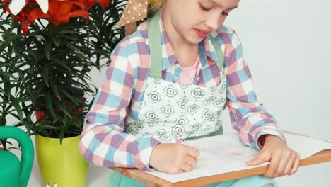 Closeup-Portrait-Child-Girl-Sitting-And-Drawing-Butterfly-On-Drawing-Board