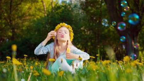 Cute-Girl-7-8-Years-Old-Blowing-Soap-Bubbles-In-The-Park