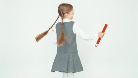 Cute-Happy-Schoolgirl-Child-7-8-Years-On-White-Background-Whirling-And-Smiling