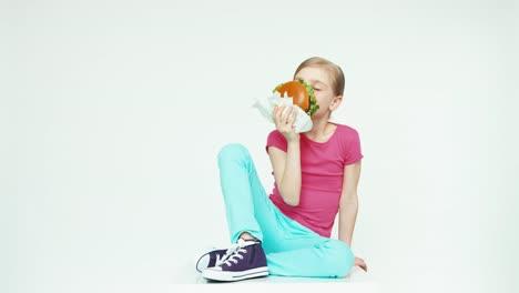 Girl-7-8-Years-Beautiful-Holding-Burger-Thumb-Up-Ok