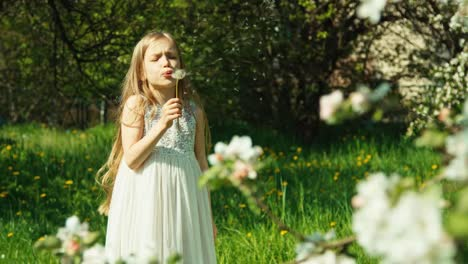 Girl-7-8-Years-Blowing-Dandelion-Near-Blooming-Tree