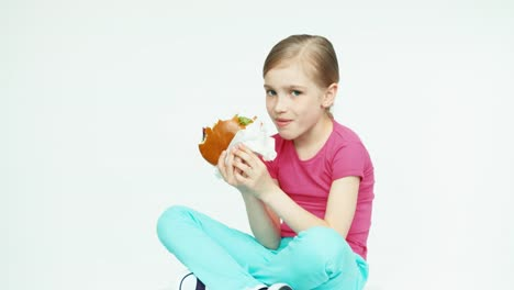 Girl-7-8-Years-Eating-Burger