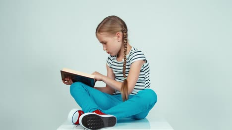 Girl-7-8-Years-Reading-Book-Sitting-On-The-Floor