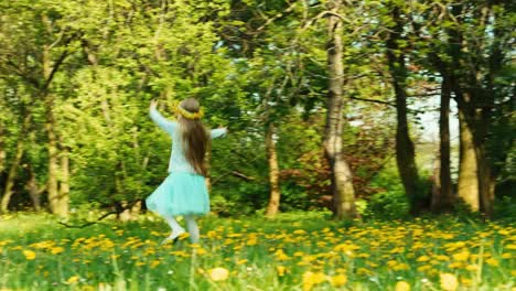 Girl-7-8-Years-With-Wreath-Of-Dandelions-On-The-Head-Running-On-The-Glade