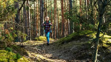 Girl-Child-7-8-Years-Hiking-In-Forest