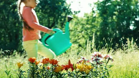 Girl-Child-7-8-Years-Old-Holding-Watering-Can-For-Flowers-Around-Flowers