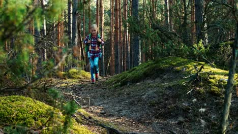 Girl-Child-8-9-Years-Goes-In-Forest-Stopping-And-Looking-At-Distance