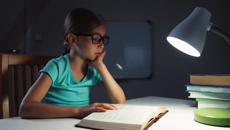 Girl-Reading-A-Book-At-Night-In-The-Dark-Schoolgirl-7-8-Years-Yawns