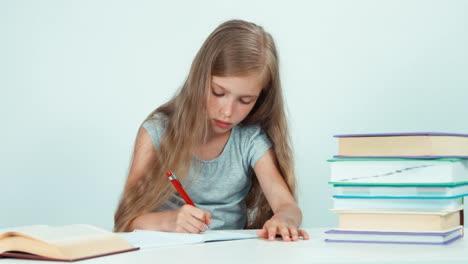 Girl-Something-Writing-In-Her-Notebook-Panning